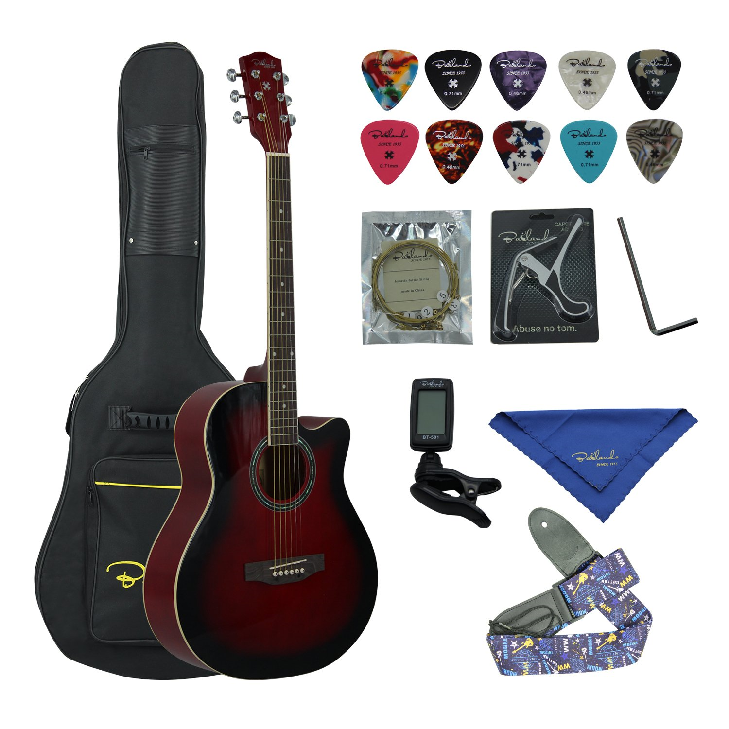 "Showing all the Contents of the Redburst Bailando 40"" Cutaway Acoustic Guitar Beginner Bundle"