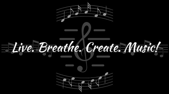 Live. Breathe. Create. Music! Logo