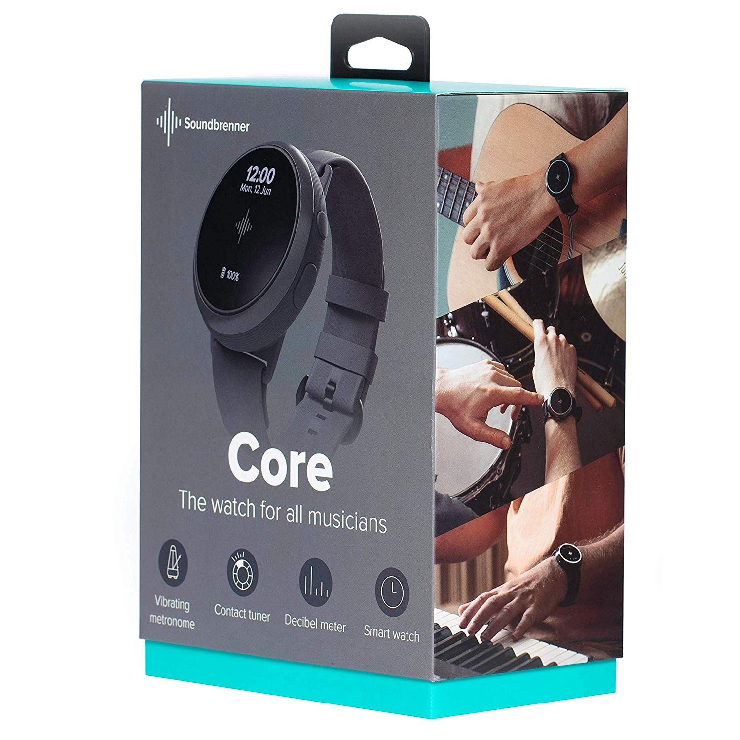 The Package The Soundbrenner Core 4-in-1 Wearable Music Tool come in