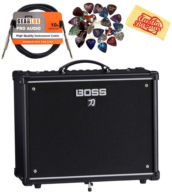 Contents of the 50W Boss Katana Combo Amplifier Bundle