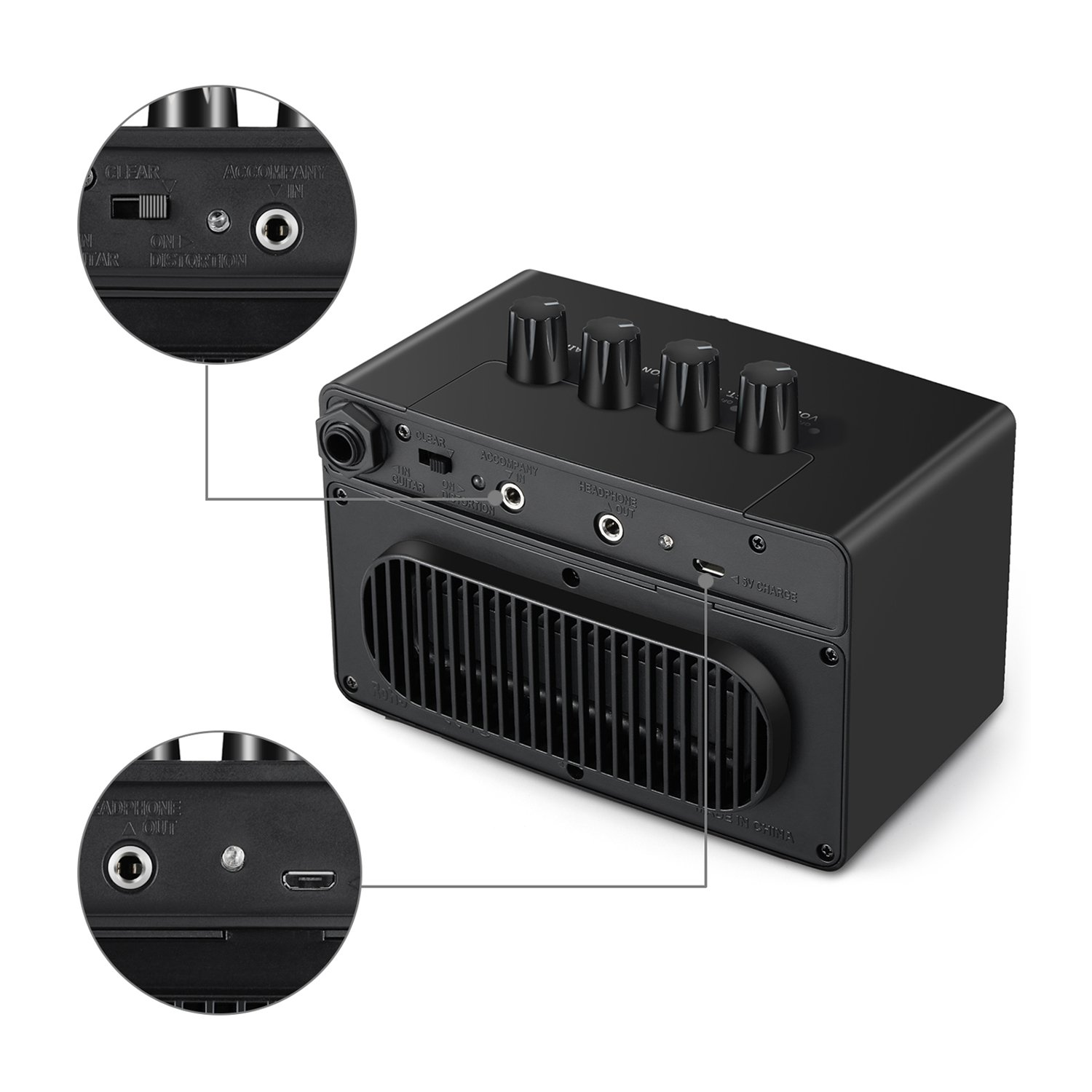 Aux ports on The Donner 3W Mini Rechargeable Amp