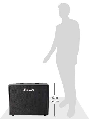 Size Comparison of the Marshall Code 50W Digital Combo Amplifier and a Person