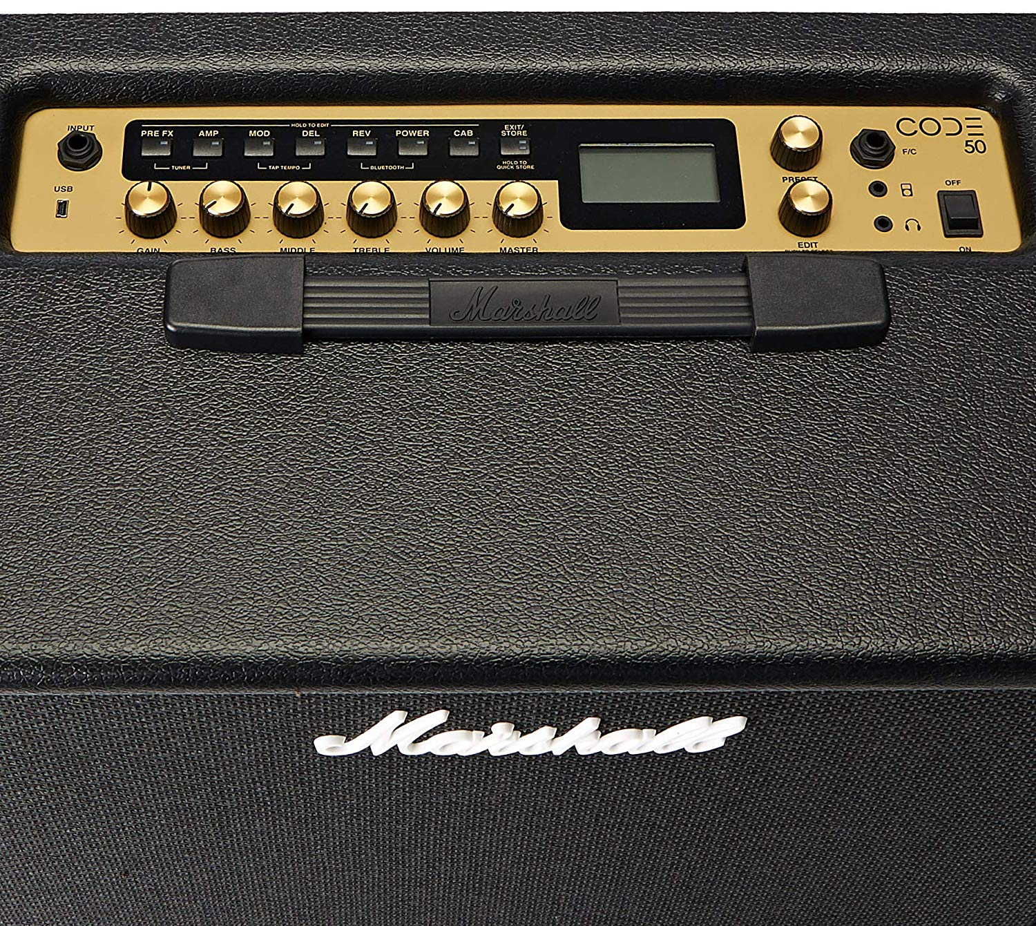 Control Knobs on the Marshall Code 50W Digital Combo Amplifier