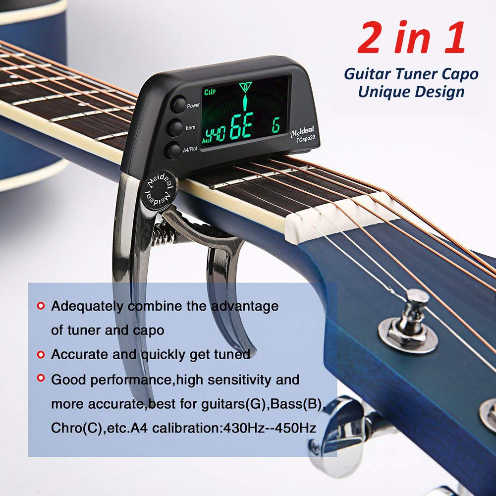 Further features of the Meideal 2 In 1 Guitar Capo & Tuner