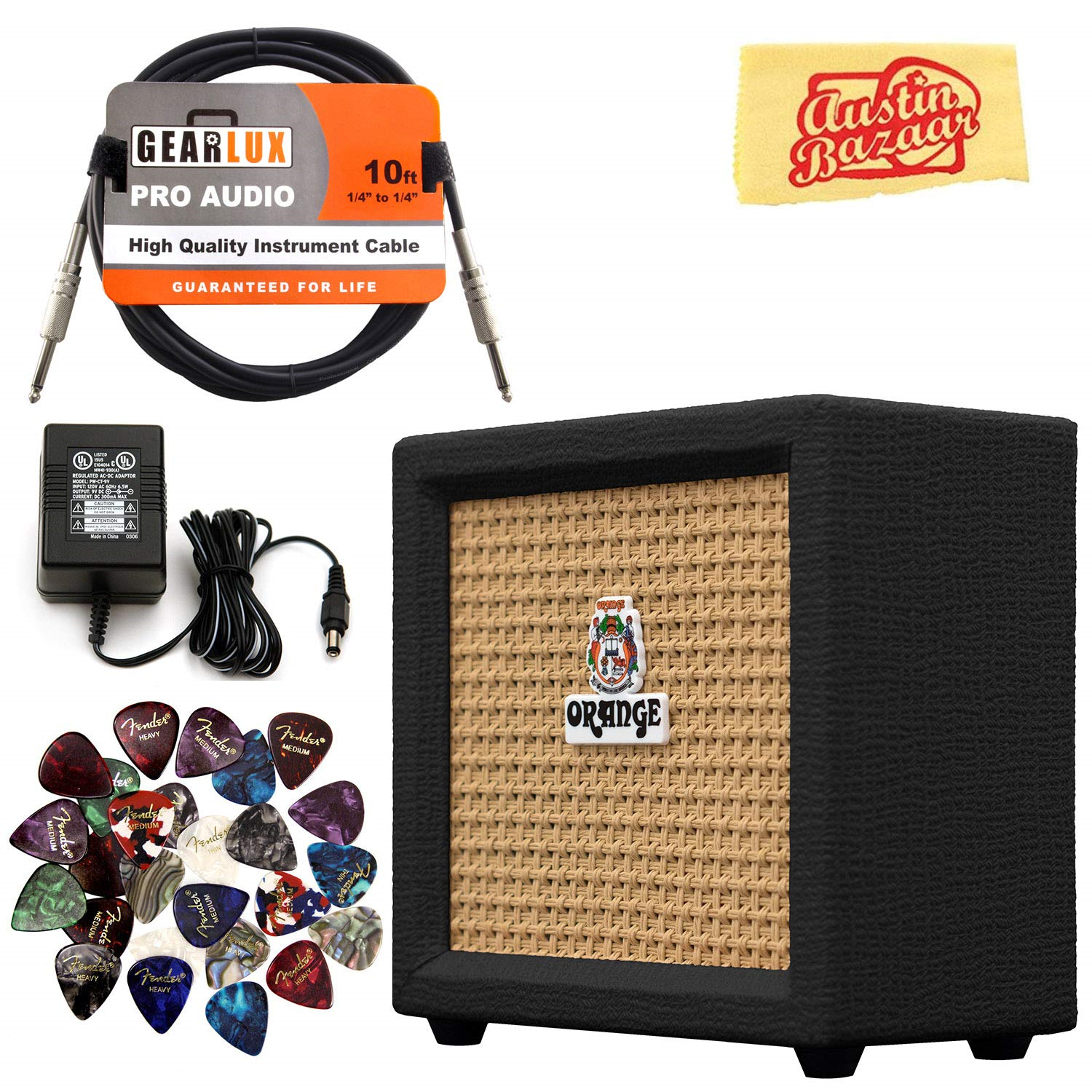 Contents of The Orange Crush Black Bundle Mini Amplifier package