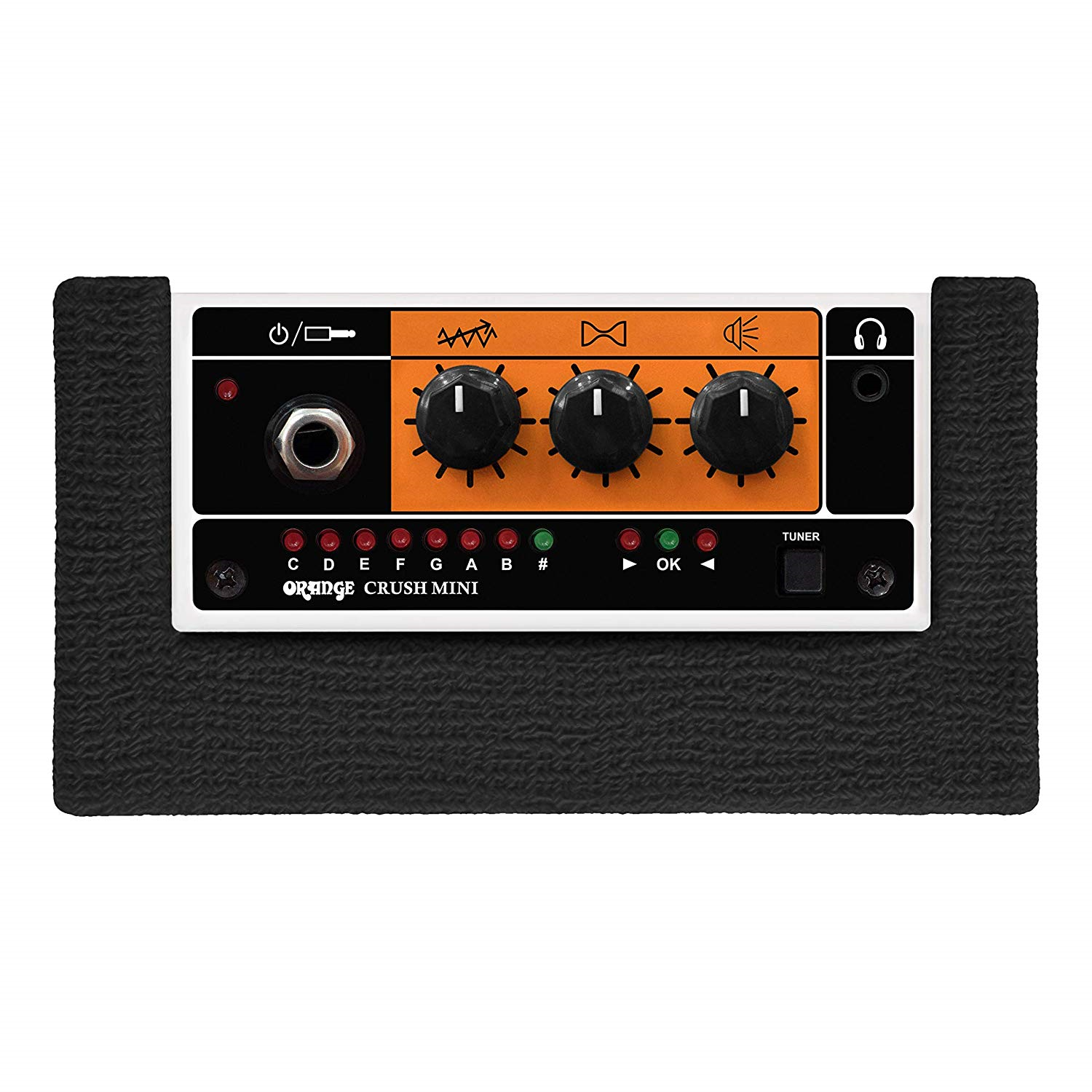 Control Knobs on The Orange Crush Black Bundle Mini Amplifier