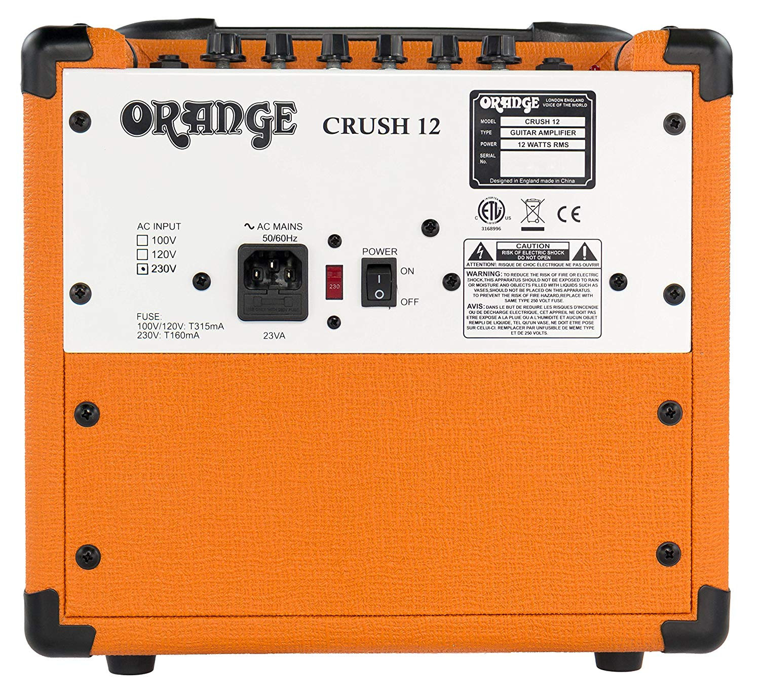 Rear View of The 12 Watt ORANGE Crush Amplifier