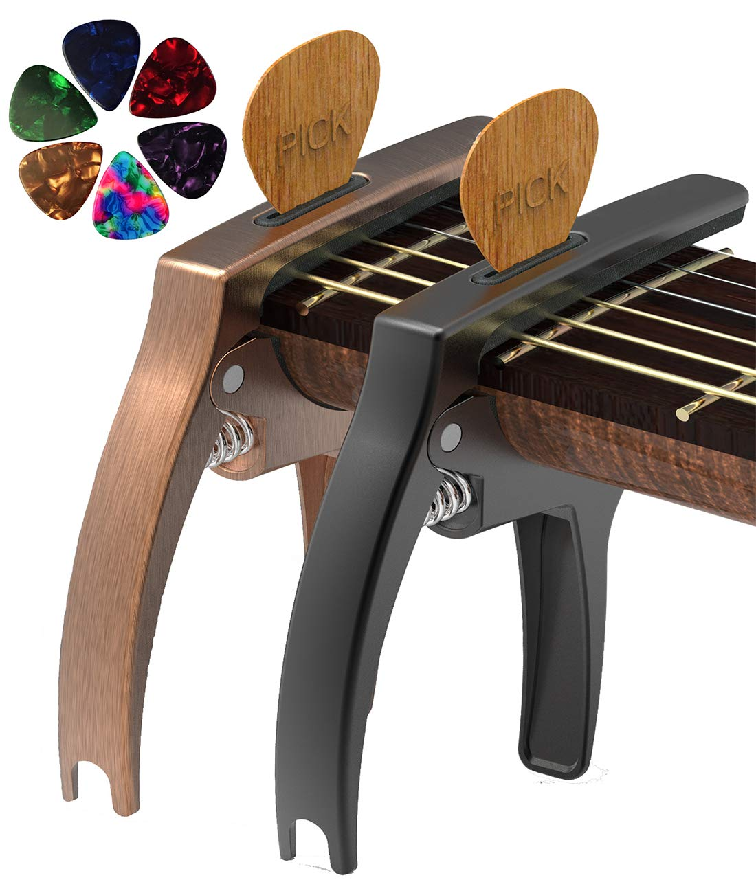 Showing the Bronze & Black Versions of The Tanmus 3 In 1 Zinc Metal Capo