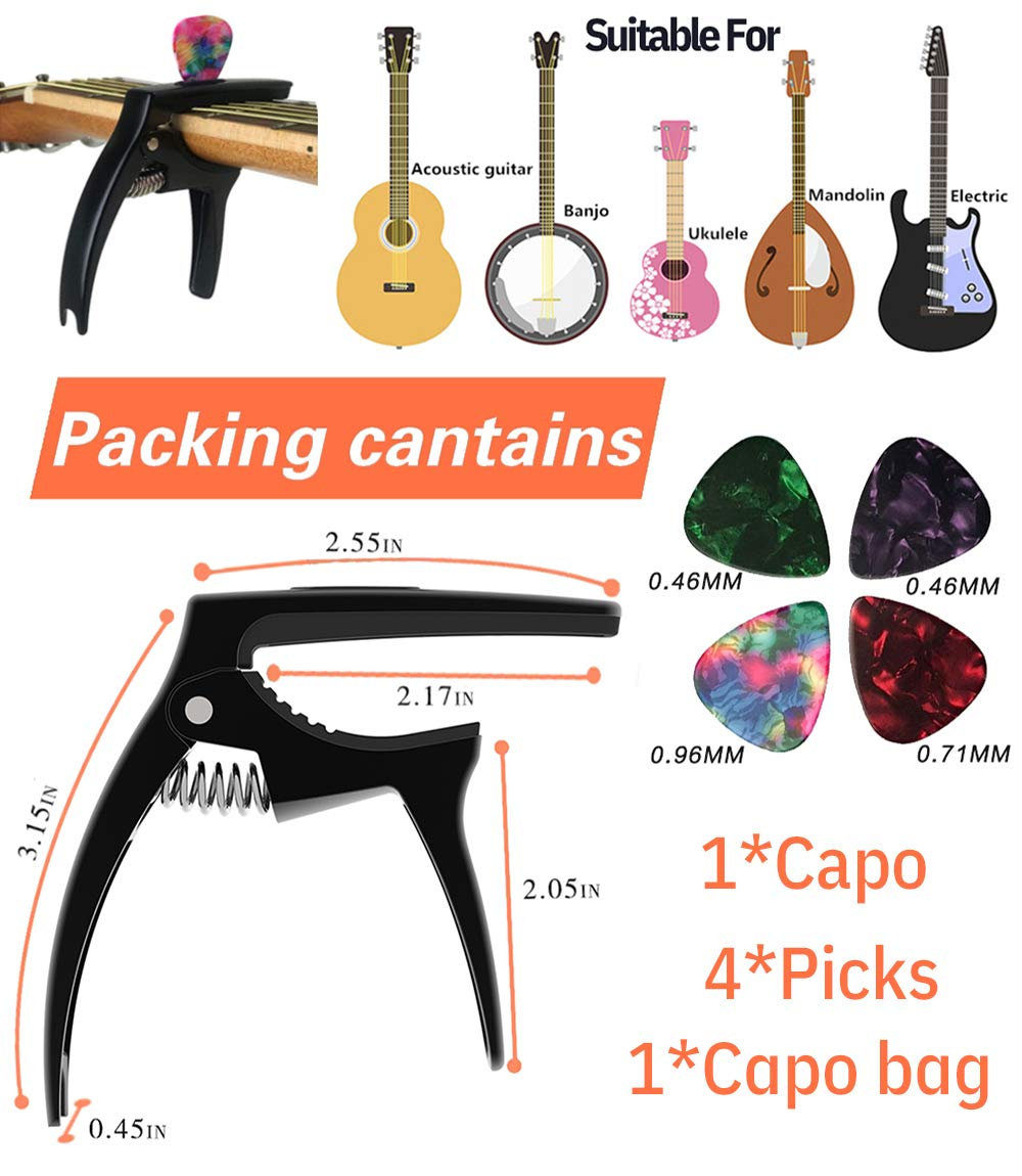 Dimensions & Contents of The Tanmus 3 In 1 Zinc Metal Capo Package