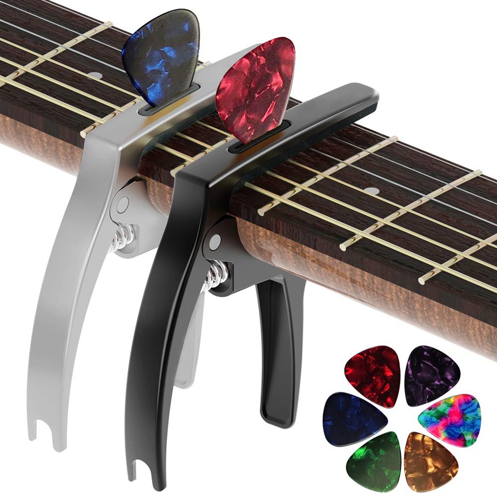 The Silver & Black Versions of The Tanmus 3 In 1 Zinc Metal Capo