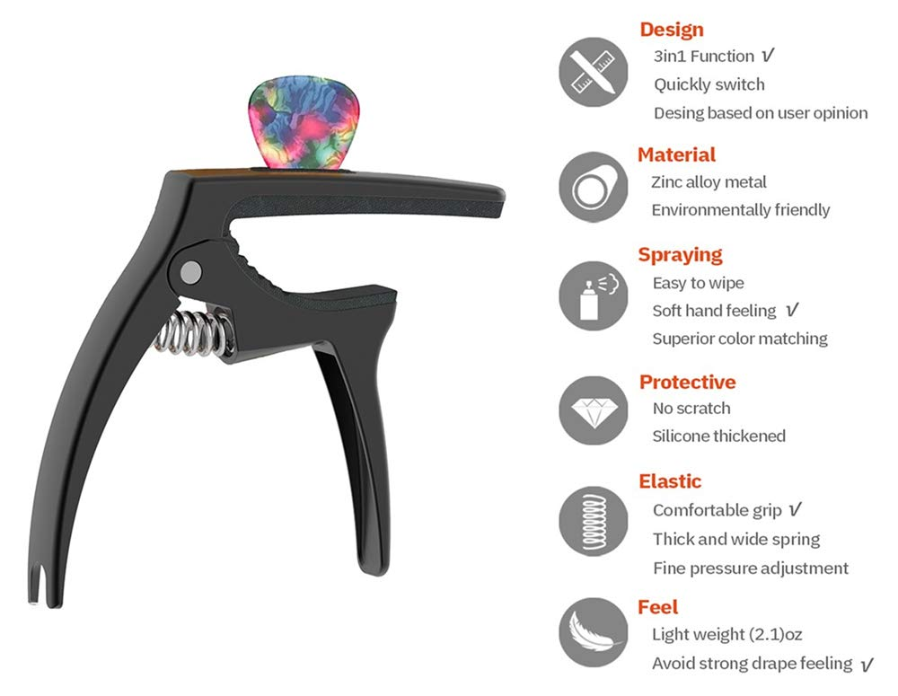 Highlights of The Tanmus 3 In 1 Zinc Metal Capo