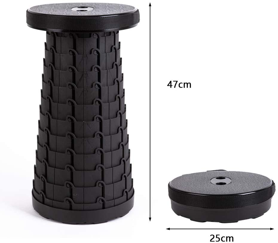The Black Version of The Antarctica Portable Retractable Stool