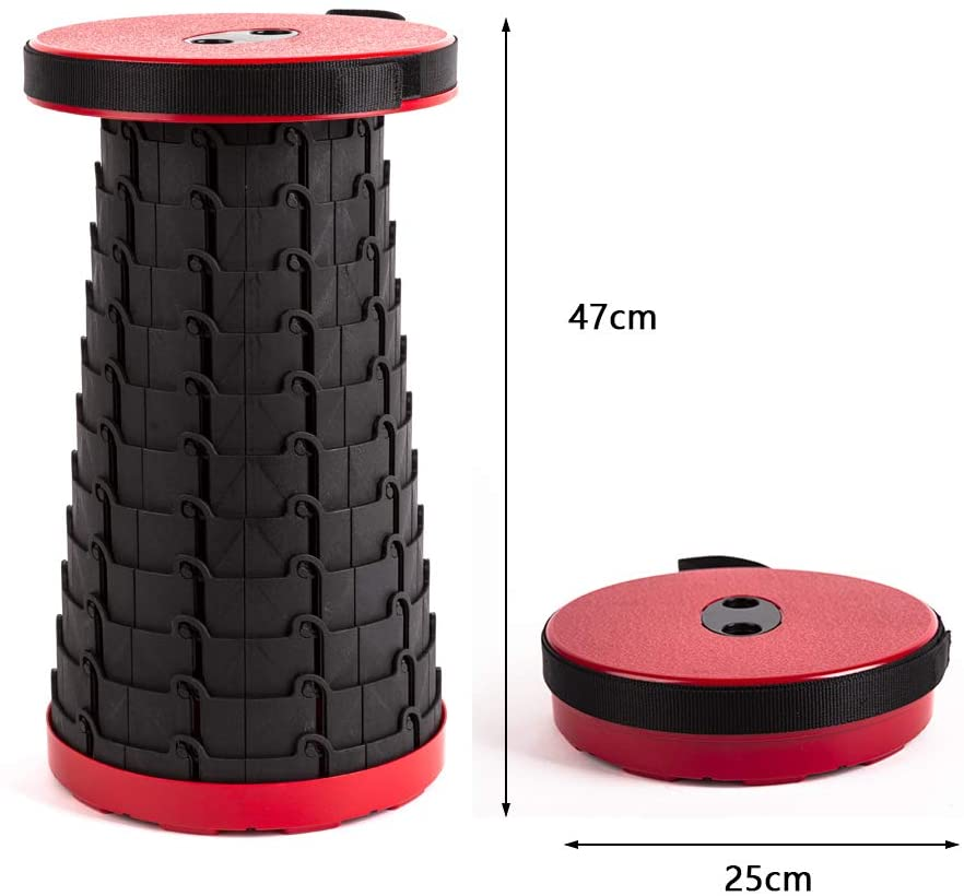 The Red Version of The Antarctica Portable Retractable Stool