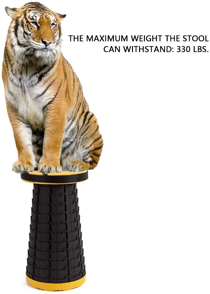 The Yellow Version of The Antarctica Portable Retractable Stool with a Tiger sitting on it
