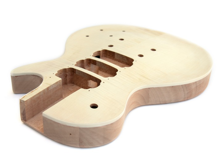 An Angled View of the Body of the LP Flame 3HB Build Your Own Guitar Kit