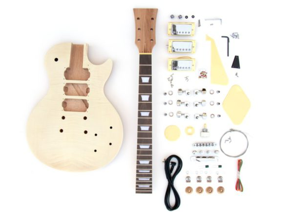Full view of everything that comes with the LP Flame 3HB DIY Build Your Own Guitar Kit
