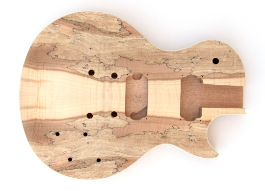 Front View of the Spalted Maple Set Neck Build Your Own Electric Guitar Kit
