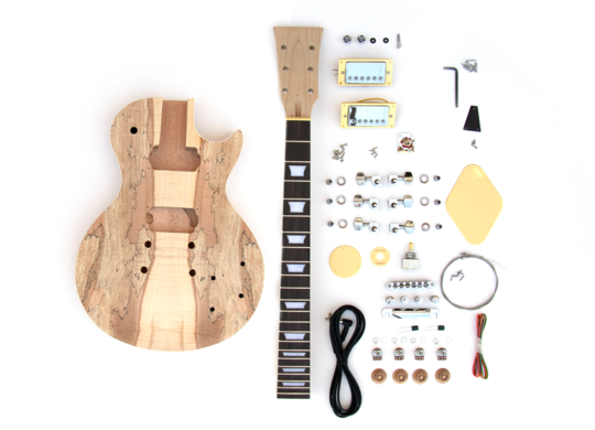 Everything in the Spalted Maple Set Neck Build Your Own Electric Guitar Kit