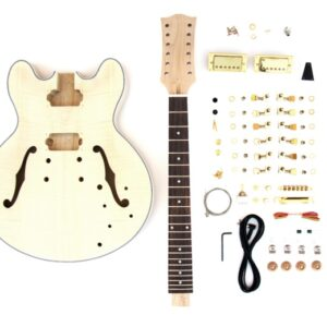 Everything that Comes With The 12 String 335 Style Semi-Hollow Build Your Own Guitar Kit