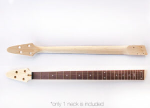 Font & Rear View of The Neck on The 4 String Ash Build Your Own Electric Bass Guitar