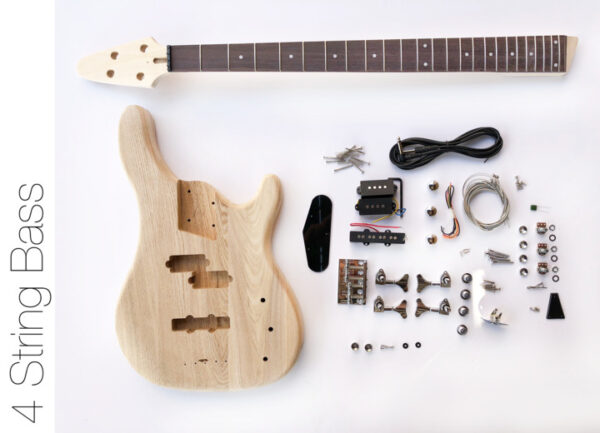 Everything that Comes With The 4 String Build Your Own Ash Bass Kit