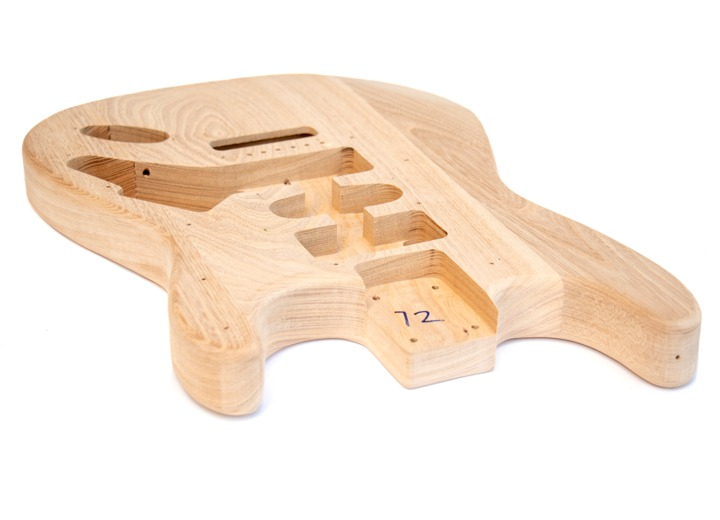 Angled View of The Ash Maple ST Build Your Own Guitar Kit