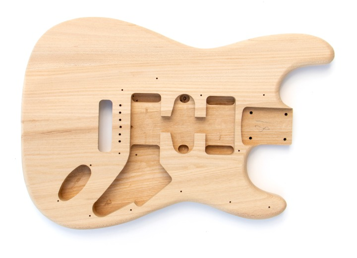 Front View of The Ash Maple ST Build Your Own Guitar Kit