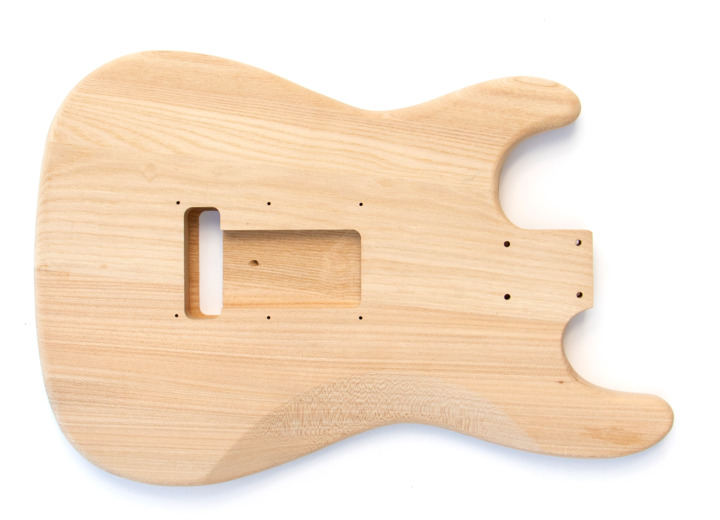 Rear view of The Ash ST Build your own Electric Guitar Kit