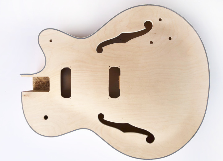 Front View of The Big Body Build Your Own Hollow Body Bass Guitar Kit