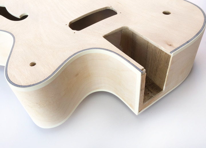 Top View of The Big Body Build Your Own Hollow Body Bass Guitar Kit