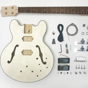 Everything that Comes With The HB Semi-Hollow Build Your Own Bass Guitar Kit