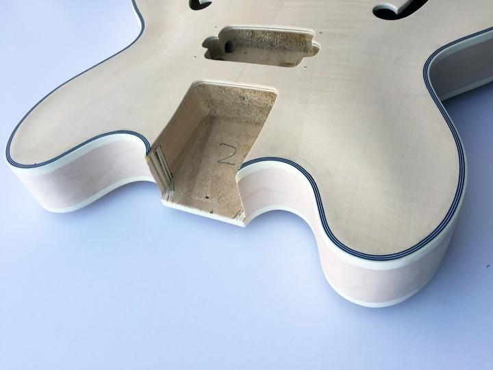 Top View of The HB Semi-Hollow Build Your Own Bass Guitar Kit