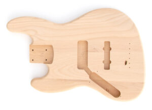 Front View of The Left Handed Build Your Own J Bass Guitar Kit