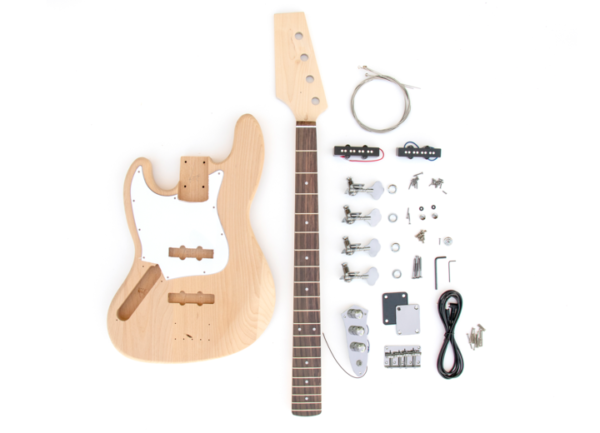 Everything that Comes With The Left Handed Build Your Own J Bass Guitar Kit