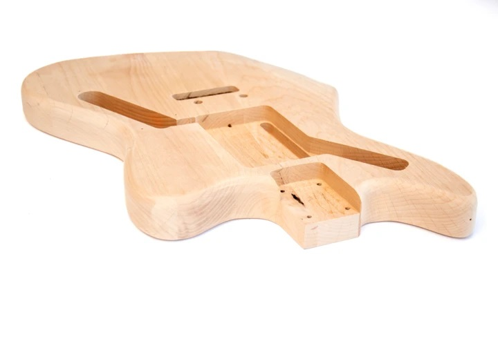 Angled View of The Jaguar Style Build Your Own Guitar Kit