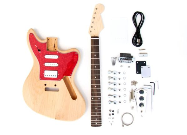 All of the Contents that are in The Jaguar Style Build Your Own Guitar Kit