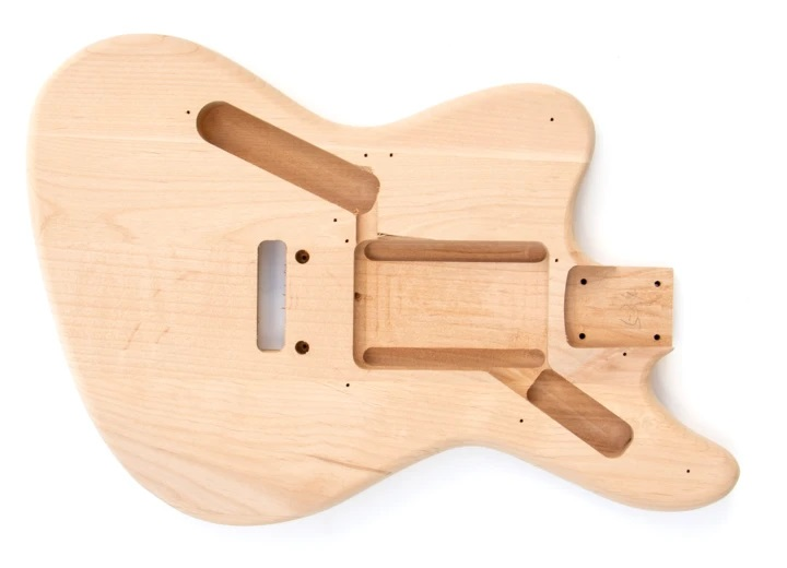 Front View of The Left Handed Jaguar Style Build Your Own Guitar Kit