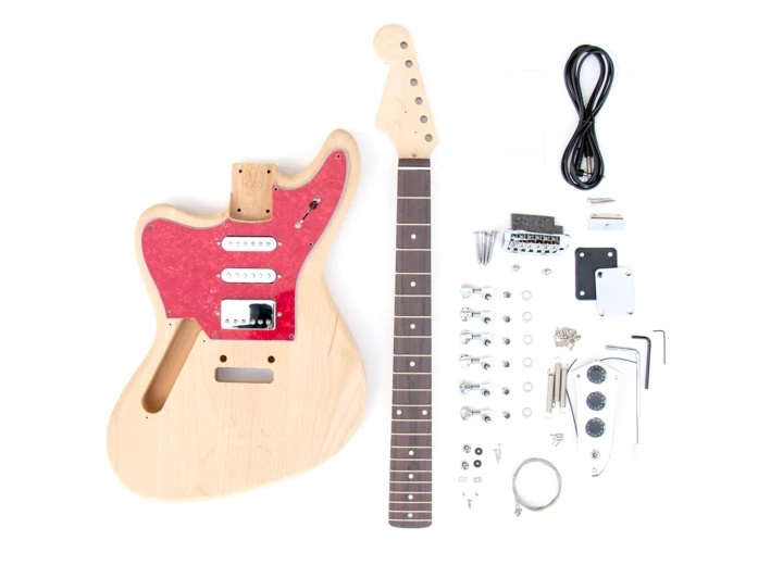 Everything that Comes With The Left Handed Jaguar Style Build Your Own Guitar Kit