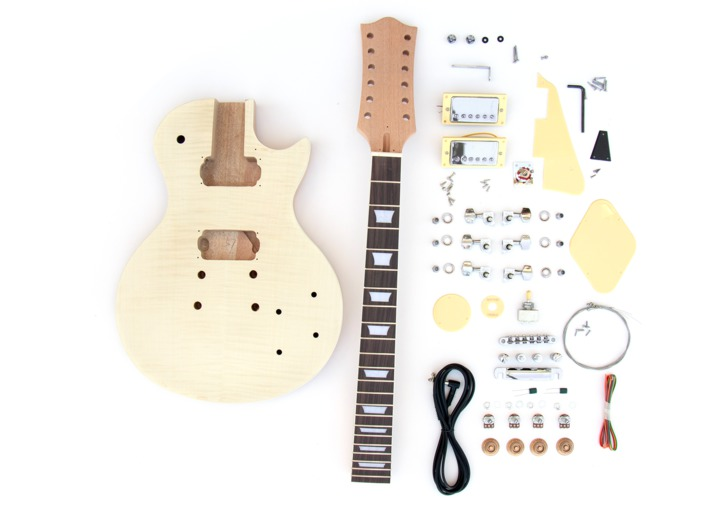Everything that comes in the LP-12 String Build Your Own Guitar Kit