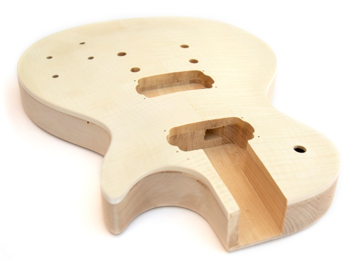 Angled View of the Body on the LP-12 String Build Your Own Guitar Kit