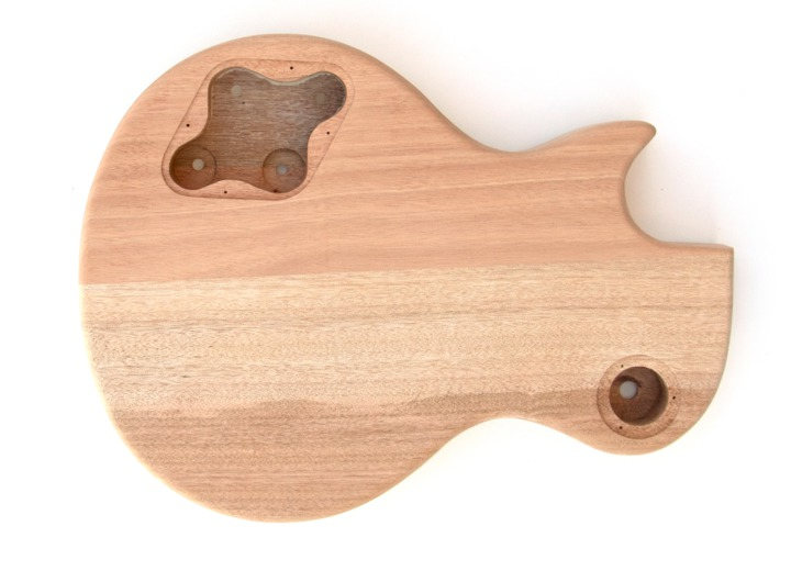 Rear View of the Body on the LP-12 String Build Your Own Guitar Kit