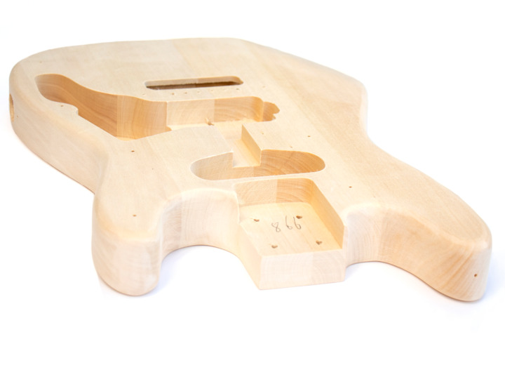 Angled View of The Mini ST Build Your Own Electric Guitar Kit