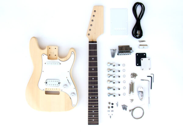 Everything that Comes With The Mini ST Build Your Own Electric Guitar Kit