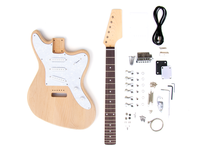 Everything that is Included in The Offset 3 Single Coil Build Your Own Guitar Kit