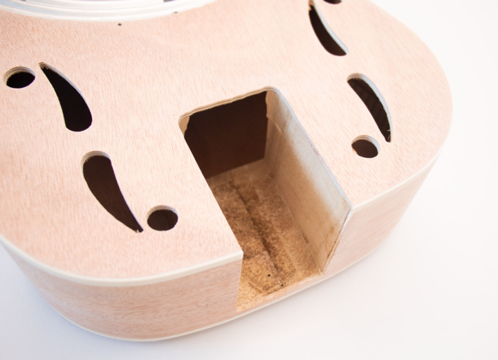 Closeup View of the Top of the Neck on The Resonator Acoustic Build Your Own Guitar Kit