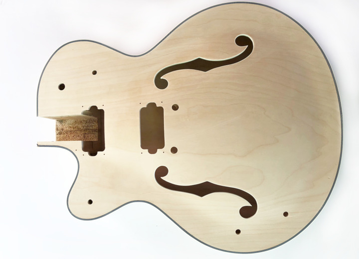 Front View of The Left Handed Rockabilly Hollow Body Build Your Own Guitar Kit