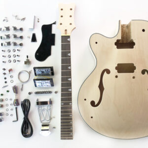 Everything that Comes With The Left Handed Rockabilly Hollow Body Build Your Own Guitar Kit