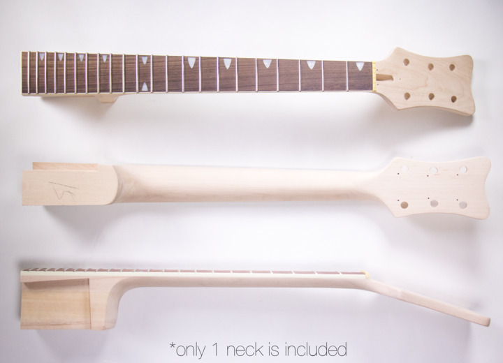 Different Views of the Neck for The Left Handed Rockabilly Hollow Body Build Your Own Guitar Kit