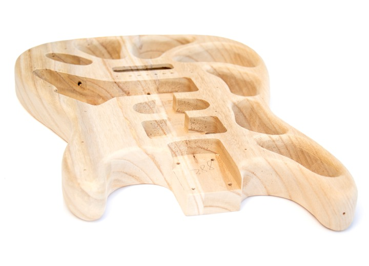 Angled View of the ST Style Build Your Own Guitar Kit