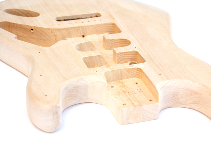 Angled View of The ST Style Reverse Headstock Build Your Own Electric Guitar Kit